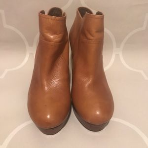 Cognac leather platform booties, perfect for FALL